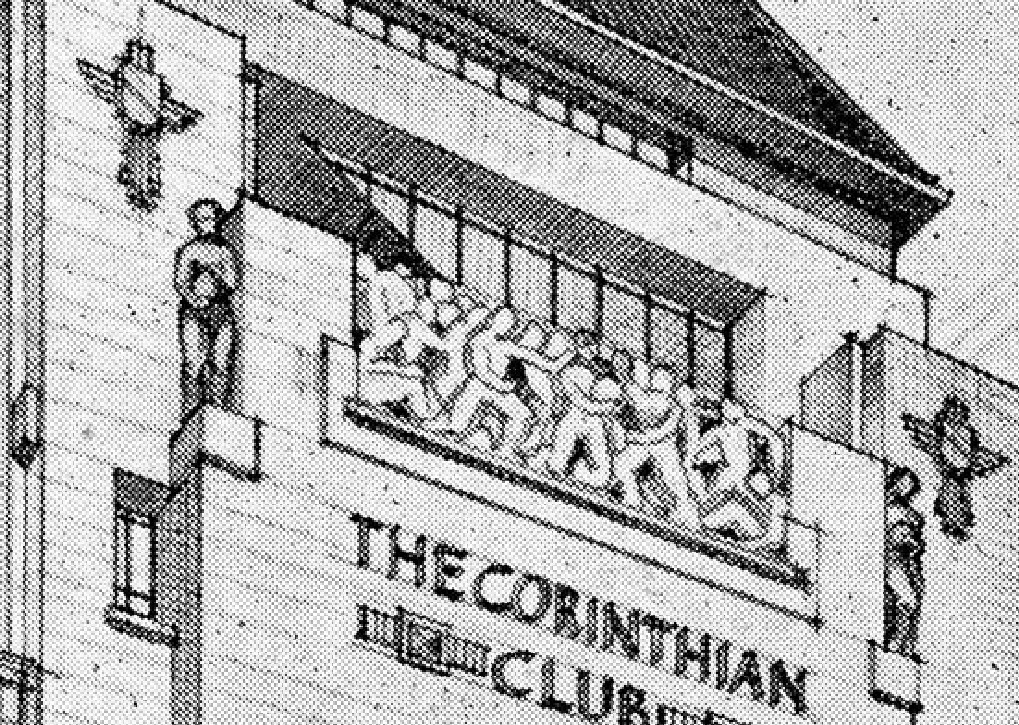 Detail Of The Corinthian Club Perspective Drawing Showing A Carved Panel High Up On Front Elevation It Represents Feat Draughtsmanship